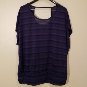 Lane Bryant Navy/Black top w/ keyhole detail on Bk